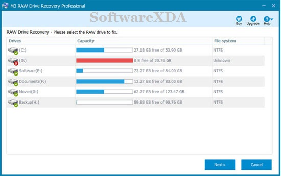 M3 RAW Drive Recovery Professional Server